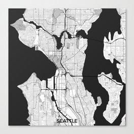Seattle Map Gray Canvas Print