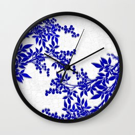 BLUE AND WHITE  TOILE LEAF Wall Clock