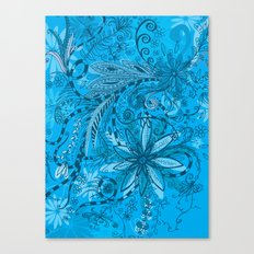 blue floral Canvas Print