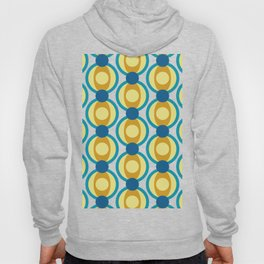 Retro Circle Pattern Mid Century Modern Turquoise Blue and Marigold Hoody