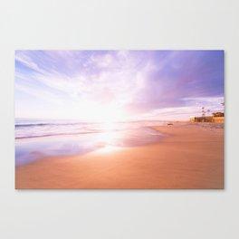 Sunset Beach Scene , Summertime, Pastel Sky Canvas Print
