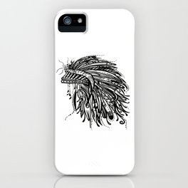 Native American Indian Headdress Warbonnet Black and White iPhone Case