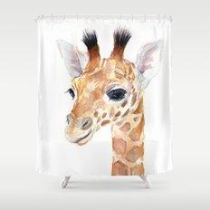 Baby Giraffe Cute Animal Watercolor Shower Curtain