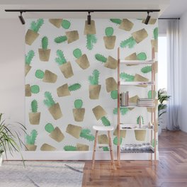 Hand painted watercolor green gold foil modern cactus  Wall Mural