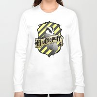 hufflepuff Long Sleeve T-shirts featuring Hufflepuff Crest by AriesNamarie