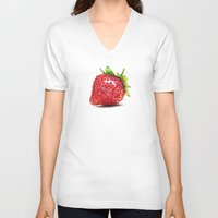 strawberry V-neck T-shirts featuring Strawberry by CipiArt