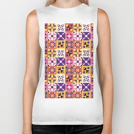 Maroccan tiles pattern with pink and purple no3 Biker Tank