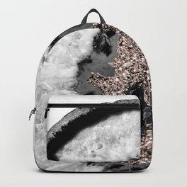 Gray Black White Agate Glitter Glamor #3 #gem #decor #art #society6 Backpack