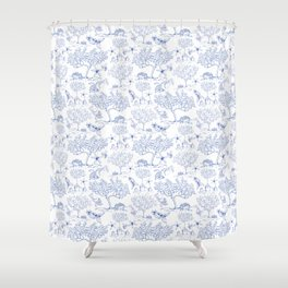 Lemony Toile de Jouy Shower Curtain