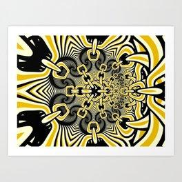Retro Chains Fractal Art Print