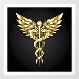 Gold Polygonal Symbol Caduceus Art Print