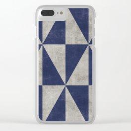 Geometric Triangle Pattern - Concrete Gray, Blue Clear iPhone Case