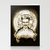 tesla Stationery Cards featuring Nikola Tesla by Kitchimama