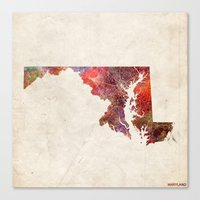 maryland Canvas Prints featuring Maryland by MapMapMaps.Watercolors