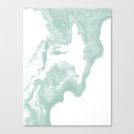 Moki - spilled ink japanese printmaking marble paper mint pastel watercolor painting abstract  Canvas Print