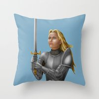 knight Throw Pillows featuring Knight by Egberto Fuentes