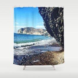 Santorini Cliff Shower Curtain