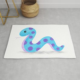 Cute Blue and Purple Snake Cartoon Painting Rug