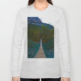 Suspension Bridge along the Berg Lake Trail in British Columbia, Canada Long Sleeve T-shirt