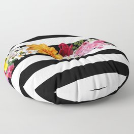 flowers on black and white stripes Floor Pillow