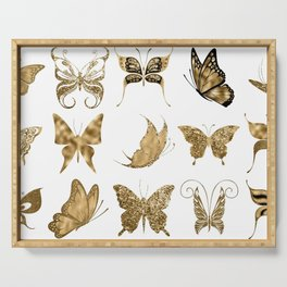 Gold Glitter Butterflies Serving Tray