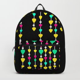 Beads and hearts yellow , pink , green . Backpack