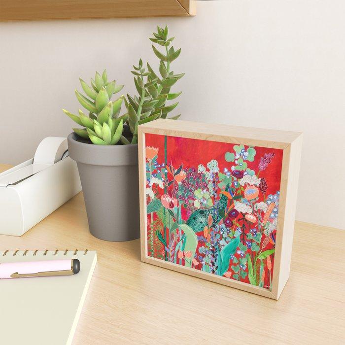 Red floral Jungle Garden Botanical featuring Proteas, Reeds, Eucalyptus, Ferns and Birds of Paradise Framed Mini Art Print
