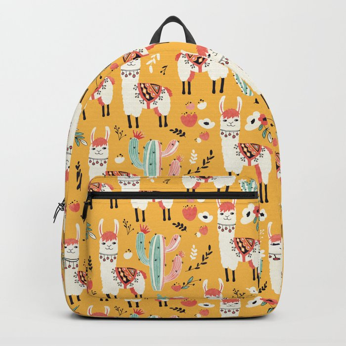 White Llama with flowers Rucksack