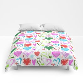 Love, Romance, Hearts - Red Blue Pink Green Comforters