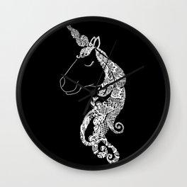 The Ivory Unicorn - Zentangle monochrome Wall Clock