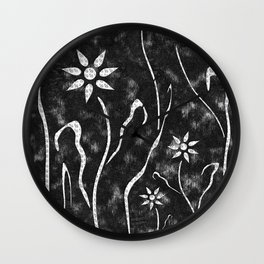 Black and White Abstract Flower Garden Wall Clock
