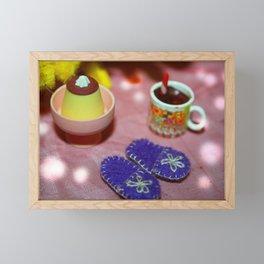 Cake, Slippers and Hot Chocolate Framed Mini Art Print