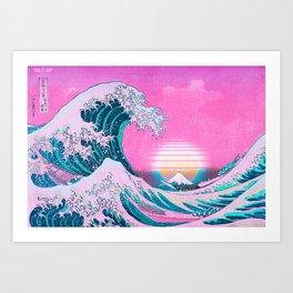 Vaporwave Aesthetic Great Wave Off Kanagawa Sunset Art Print