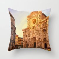 florence Throw Pillows featuring Florence by Sara Cooley