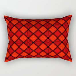 Abstract Diamond Red Black Pattern Rectangular Pillow