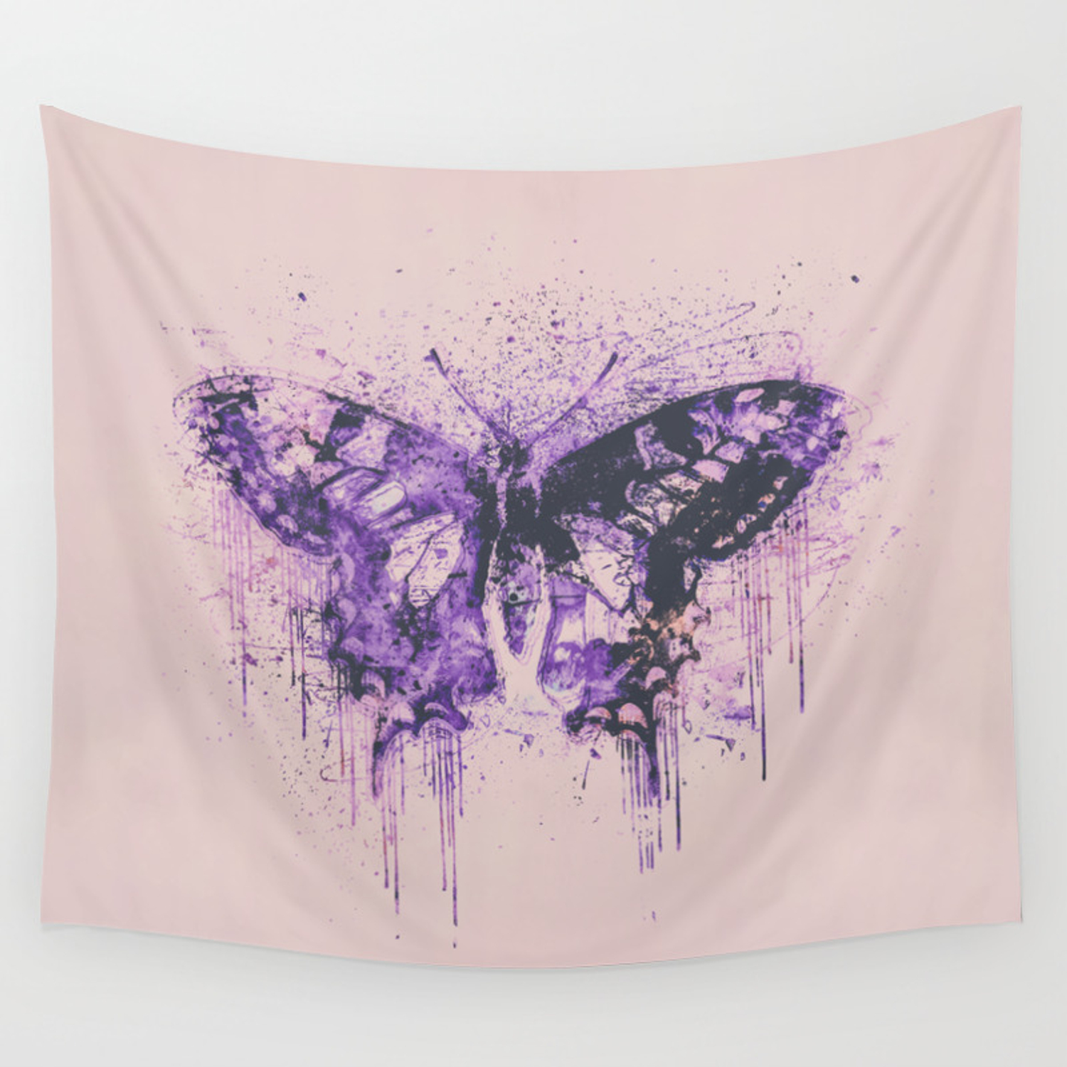 Artsy Butterfly Mixed Media Art Pastel Pink And Purple Wall Tapestry By Lebensart Society6