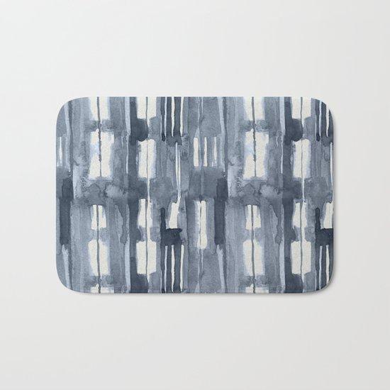 Simply Shibori Lines in Indigo Blue on Lunar Gray Bath Mat