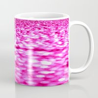 glitter Mugs featuring Fuchsia Pink Glitter Sparkle by Whimsy Romance & Fun