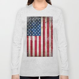 Vintage American Flag On Old Barn Wood Long Sleeve T-shirt