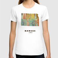 kansas T-shirts featuring Kansas state map modern by bri.buckley