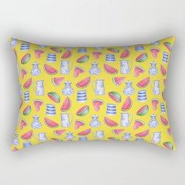 Melons and Jugs Pattern Yellow Rectangular Pillow