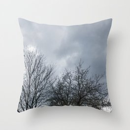 Winter Sky, Cloudy Winter Sky, Beautiful Clouds and Trees Throw Pillow