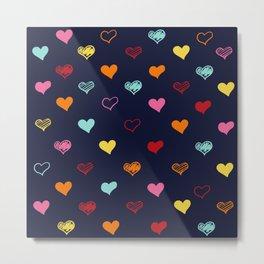Colorful Hearts Metal Print