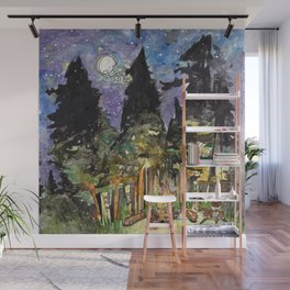 Campfire Under a Full Moon Wall Mural