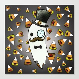 ghost gentleman in a top hat and candy corn Canvas Print