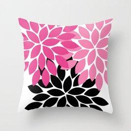 Bold Colorful Hot Pink Black Dahlia Flower Burst Petals Throw Pillow
