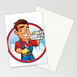plumber worker with key in the hand Stationery Cards