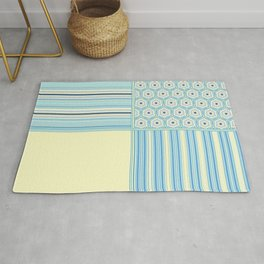 Summer Blues and Yellow Multi Pattern Design Rug