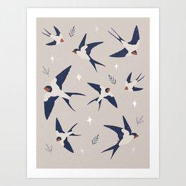 Spring Swallows Art Print