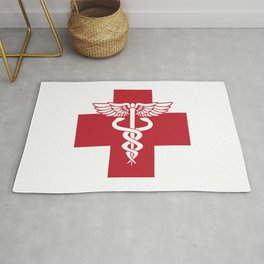 Medical Health Care Red Cross with Caduceus Symbol Rug